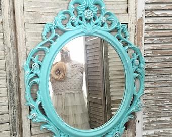 Baroque Mirror, Ornate Mirror, Large Wall Hanging Mirror, Nursery Mirror, Turquoise Aqua Blue, Oval Mirror For Sale