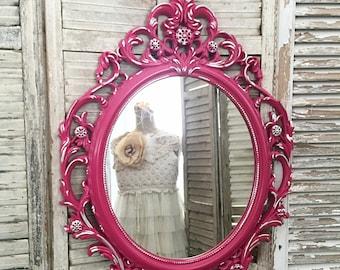 Ornate Mirror, Baroque Mirror Nursery Mirror, Bathroom Mirror, Raspberry Pink, Oval Mirror For Sale