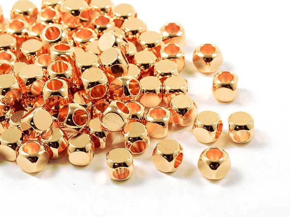 5mm Rose Gold Cube, Pink Cornerless Square Cube Beads, Rounded Square Metal Beads, Metal Cubes - 25 pcs/ pkg