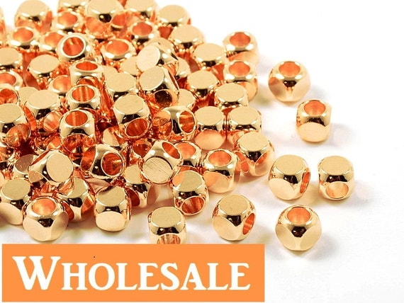 5mm Rose Gold Cube WHOLESALE, Pink Cornerless Square Cube Beads, Rounded Square Metal Beads - 100 pcs/ order