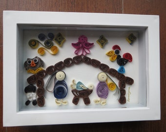 Quilling Handmade Nativity in a photo frame. Perfect as a Xmas present for friends, family and collectors!!