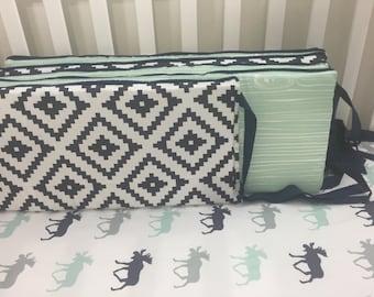 Little Oasis Custom Crib bedding. Neutral navy aztec, mint wood grain, navy minky dot crib bumper, navy blue trim and ties.