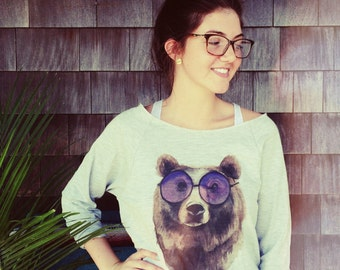 Watercolor swagger bear raw edge sweatshirt