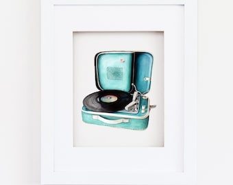 Matted 11x14 Vintage Record Player Print