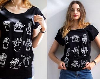 Woman Cactus T-shirt Cactus Succulent Print Black T shirt boyfriend T-shirt Silkscreen  Cacti