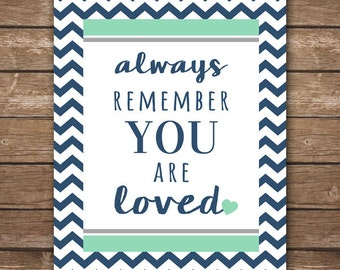 INSTANT DOWNLOAD - Always Remember You Are Loved - Chevron Wall Art - Printable Gender Neutral Nursery Décor - Navy, Mint & Gray - 8x10
