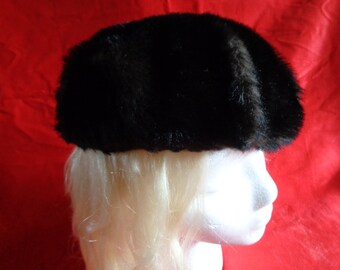 Vintage faux fur hat  beret tam dark brown