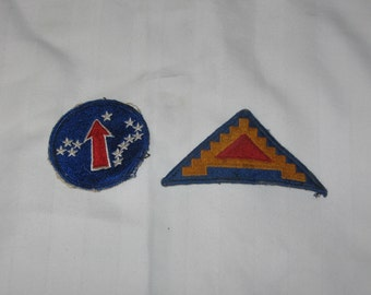 lot of 2 vintage wwll army patches   free shipping in the usa!!!