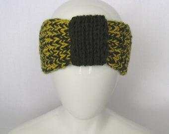 Hand Knit Headband - Sports, Football, Knitted Ear Warmer,  Teen Headband, Winter Accessory, Christmas Gift