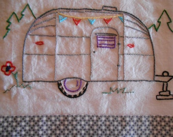Vintage Airstream Trailer PDF Hand Embroidery Pattern--Instant Download