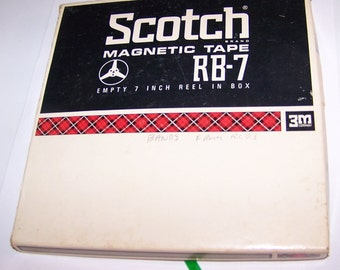 """Scotch Magnetic 7"""" Reel Tape of Band Recordings, Scotch magnetic Tape RB-7 Reel, Unknown Band Recordings, Vintage Band Reel, Mysterious Band"""