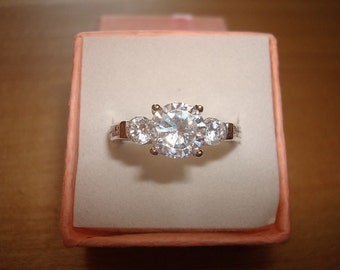 Diamond Cut White Sapphire 925 Sterling Silver Engagement Ring Size 8.25