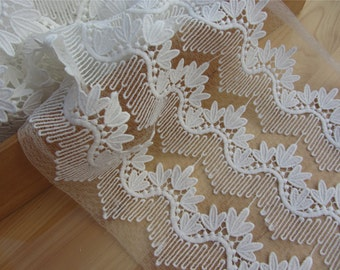 white Lace Trim, 7.8inch wide lace edge For dress,skirt, Victorian & Romantic Crafts,flower lace ribbon