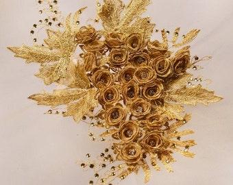 Gold applique,wedding applique,Embroidered 3D Applique Rhinestone Center Teal Floral Sequin Patch 28cm*20cm,rose applique