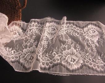 """3 Yards*7.8"""" white eyelash lace fabric  , Chantilly Eyelash Lace Fabric in white  for Wedding Gowns, black eyelash lace fabric-T004"""