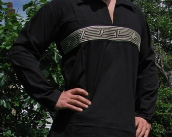 Mens Design 100% Cotton Shirt Black, embroided