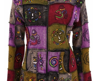 Hand crafted  light jacket patchwork with hand drawings