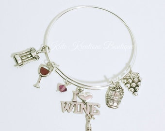 I Love Wine bracelet, Adjustable Bangle, Expandable, Stainless Steel.