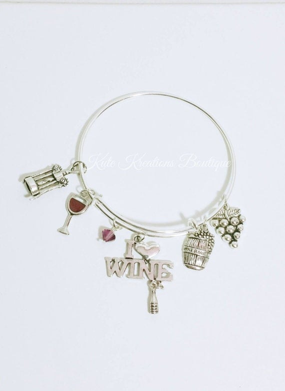 I Love Wine bracelet, Adjustable Bangle, Expandable, Stainless Steel.