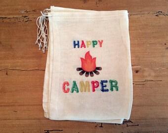 6 Happy Camper Multi Colors - Camping Party Favor Bag 6x8 7x9 7x11
