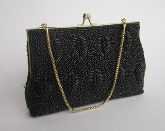 1960s hand beaded, glass bead, satin lined vintage evening bag