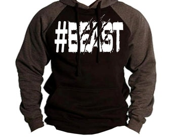Men's #Beast Two Tone Hoodie Charcoal/black  All size S-2XL