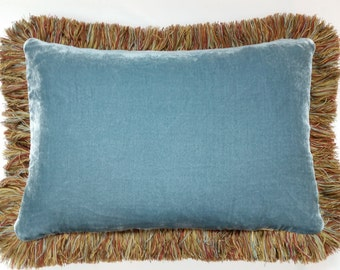 """Decorative Brown, Rust, Gold, and Blue Oblong Pillow, size 14"""" x 20"""", reversible"""