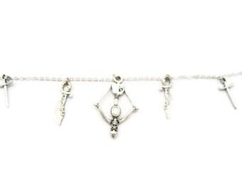 Crossbow Charm Bracelet Sword Charm Bracelet Medieval Weapons Bracelet Sword Jewelry Gamer Bracelet Crossbow Jewelry