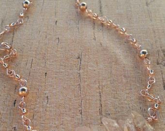 Rose luster quartz necklace