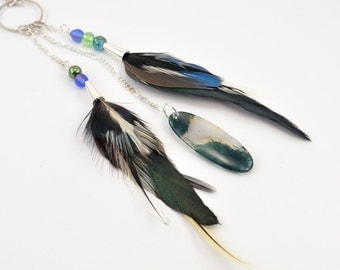 Real feather necklace - Blue feather jewelry - Green feather necklace - Moss agate pendant - Pendant and feather necklace