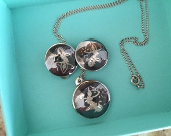 Vintage Siam Necklace and Clip on Earrings Sterling