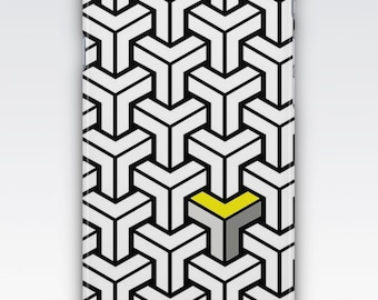 Case for iPhone 8, iPhone 6s,  iPhone 6 Plus,  iPhone 5s,  iPhone SE,  iPhone 5c,  iPhone 7  - Black, White, Grey & Yellow Geometric
