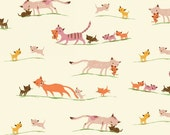 Heather Ross Tiger Lily for Windham Fabrics - Marching Cats in Cream