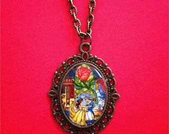 """Handmade """"Belle & Prince"""" Beauty and the Beast Inspired Stained Glass Window Necklace - Clear Oval Dome Jewelry - Bronze"""