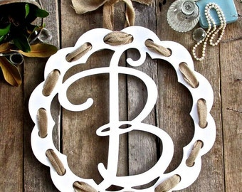 White Wooden Ribbon Monogram