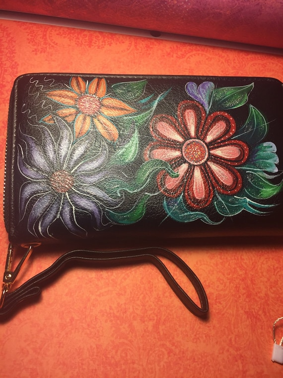 Women's wallet - Hand painted clutch - wallet by Emmanuel Saltis