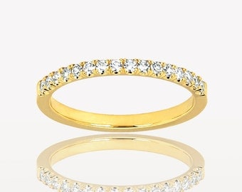 1.5mm Single Cut Diamond Band, 14k Yellow Gold, ~0.15ctw