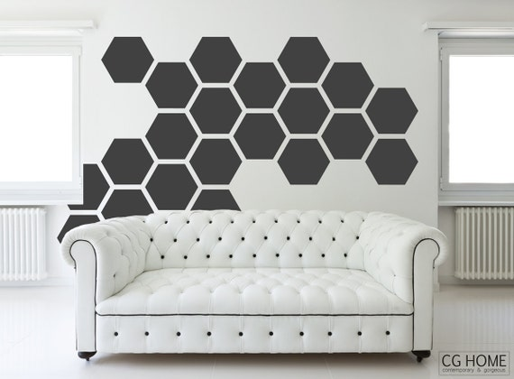 HEXAGON geometric 12 inches honeycomb COLORFUL wall decal MODERN vinyl at home stickers headboard