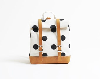 Polka dot rucksack - S / high quality Japanese canvas, hand made in Japan