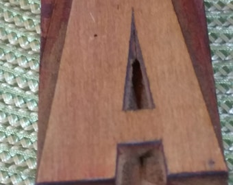 "Antique Wood Block Letterpress  2 1/2"" Letter A"
