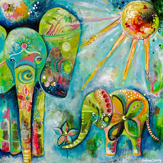 Mama and baby elephant giclee wall decor colorful art Colorful elephant home decor