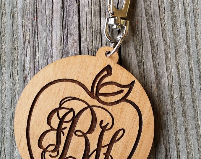 Monogram Key Ring - Teacher Gift - Wooden Monogram Key Ring - Personalized Bag Tag - Personalized Luggage Tag - Personalized Gift
