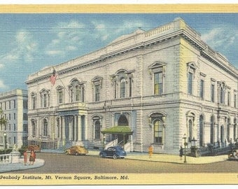 Peabody Institute, Mt. Vernon Square, Baltimore Maryland Linen Era Old Postcard (Unposted)