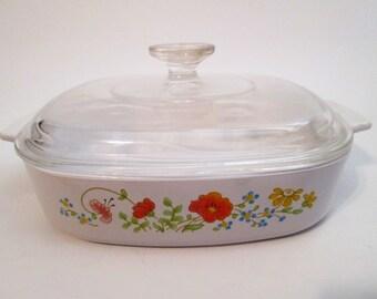 Vintage Corning Ware Casserole Dish A-8-B with Lid, Wildflower Pattern, 1.4 Liter, CorningWare Wild flower Baking Dish w/Lid, Mint Condition