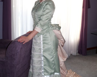 Green Victorian Inspired Bustle Dress