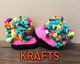 Crocheted Hot Pink & Day Glow Faux Fur Boots