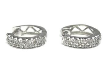 Vintage 14K White Gold .30 Carat Diamond Huggie Hoop Earrings