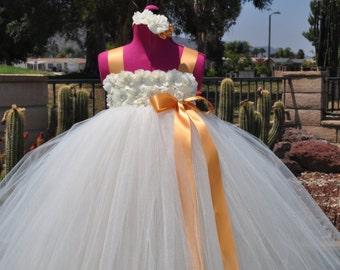 Ivory Gold Champagne Flower Girl Dress, Toddler Ivory Dress, Infant Ivory Champagne Gold Dress,Ivory Gold Baby Dress