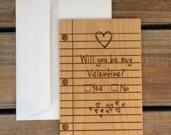 I Love You Card, Wood Card, Real Wood Card- Be My Valentine ,Anniversary Card, Birthday Card, Valentine's Day Card, Cute Card