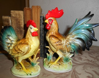 Chicken Birthday: Mr. and Mrs. Chicken, Great Ceramic Chickens, Stately and Colorful, No Feed Required to Have These Two in Your Flock